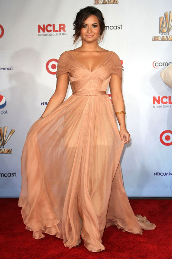 Nude Colored mateial can be difficult to sustain. But Demi Lovato shines in this dress by Maria Lucia Hohan! She looks amazing