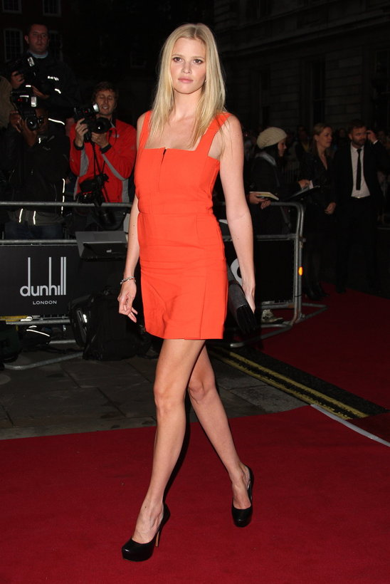 Lara Stone in the IT color for this year, orange