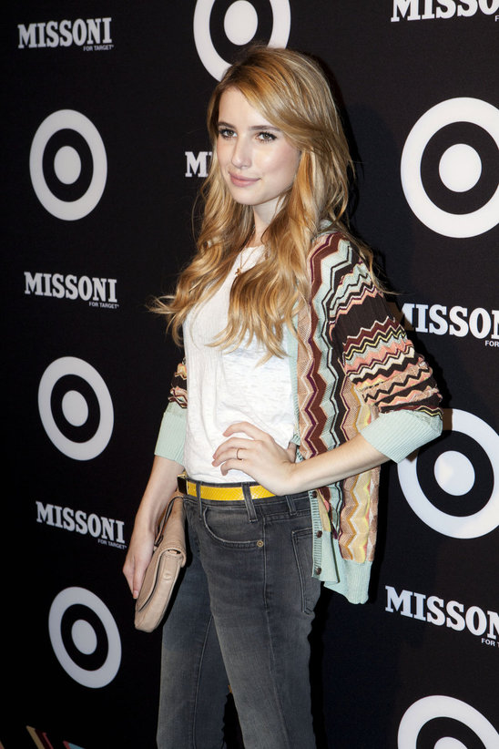 The color combination is fantastic! Emma Roberts has a perfect mix of casual and chic